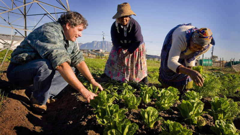 Two women are shown better farming techniques at one of a hundred gardens in Cape Town